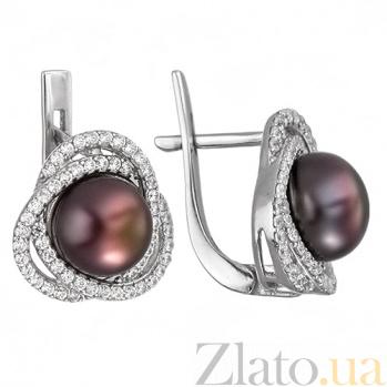 Серебряные серьги с черным жемчугом Розочка 2302/9р ч жем