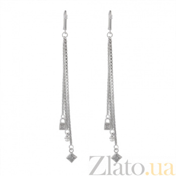 Серебряные серьги-подвески Цветочные тайны с белым жемчугом и фианитами в стиле Луи Виттон 000080044