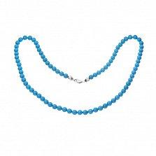 Ожерелье из бирюзы Аквантика с серебряным замком