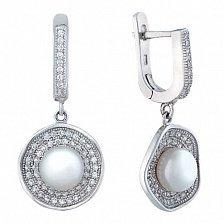 Серебряные серьги-подвески с жемчугом Шелби