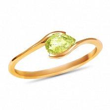 Золотое кольцо Тонкие грани в красном цвете с цитрином