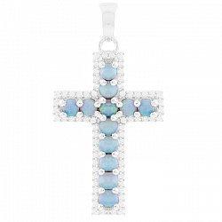 Серебряный крестик Хлоя с голубым опалом и фианитами
