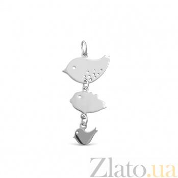 Серебряный подвес Пташки с родием 000079121