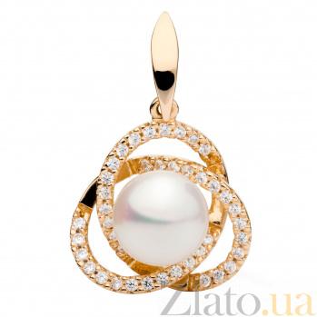 Золотой кулон с жемчугом и цирконием Бекки 000030267