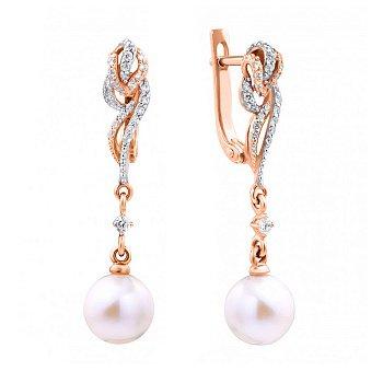 Золоті сережки-підвіски в комбінованому кольорі з перлами та фіанітами 000123698