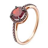 Золотое кольцо Камилла с гранатом и фианитами
