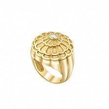 Кольцо в желтом золоте Фибоначчи с бриллиантом