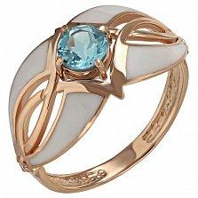 Золотое кольцо Илона с топазом и эмалью