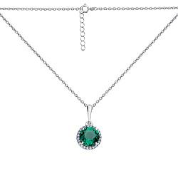 Серебряное колье Физалис в якорном плетении с зеленым кварцем и белыми фианитами