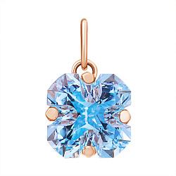 Золотой кулон Обаяние с голубым топазом фантазийной формы