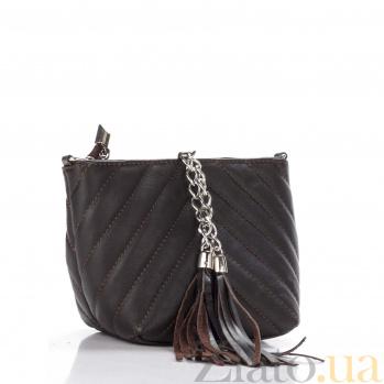 Кожаный клатч Genuine Leather 7754 цвета черный кофе с декоративными строчками и цепочкой-ремнем 000092310