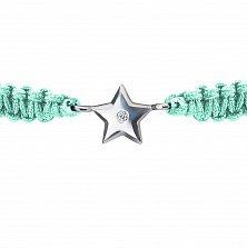 Браслет детский Звезда большая, плетеный с cеребряным украшением и фианитом, 10х10см