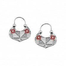 Серебряные серьги Ридикюль с эмалью и фианитами