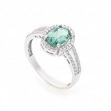 Золотое родированное кольцо Лейла в белом цвете с зеленым кварцем и белыми фианитами