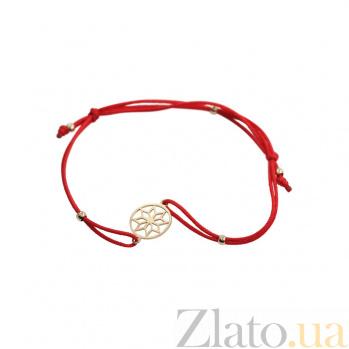 Браслет из красного золота и красной нити Звезда Алатырь 000081290