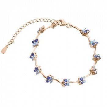 Серебряный браслет Танец мотыльков с синими фианитами и позолотой 000033799