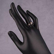 Золотое кольцо Иллана в комбинированном цвете с шинкой внахлест и белым кристаллом Swarovski