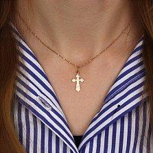 Крестик Благословение в красном золоте