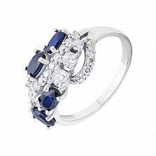 Серебряное кольцо Роскошная россыпь с сапфирами и фианитами