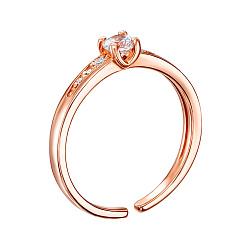 Серебряное позолоченное кольцо с цирконием Swarovski 000144916