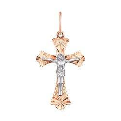 Золотой крестик в комбинированном цвете с насечками 000115592