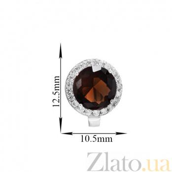 Серебряные серьги Рашель с фианитами цвета раухтопаза SLX--СК2ФРТ/408