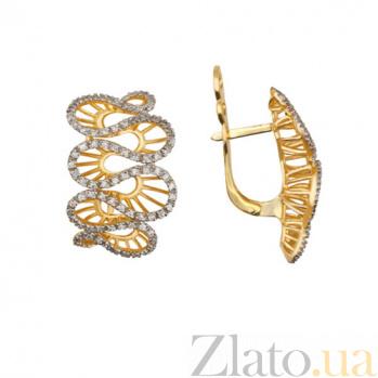Серьги из желтого золота Кружево VLT--ТТ2227-1