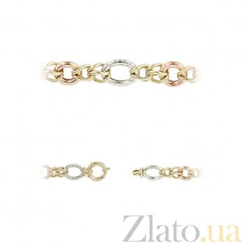Браслет из комбинированного золота Тонкий вкус 2Б756-0013
