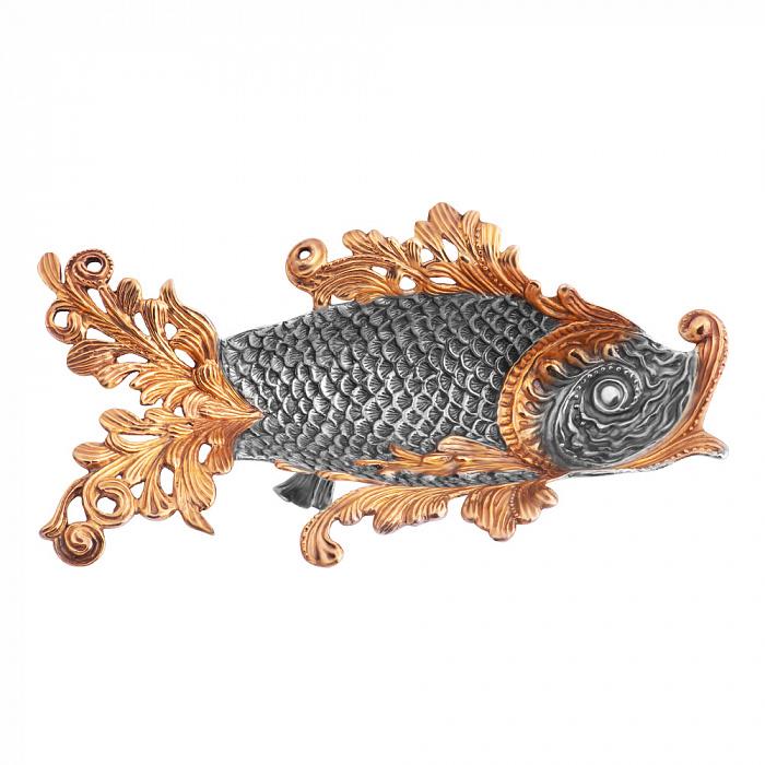 Серебряная икорница Сабрина в форме рыбки с позолотой 1486