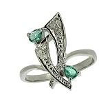 Серебряное кольцо с бриллиантами и изумрудами Паулина