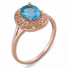 Золотое кольцо с топазом Голубой мираж