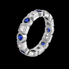 Золотое кольцо Диана в белом цвете с сапфирами и бриллиантами