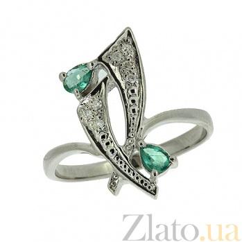 Серебряное кольцо с бриллиантами и изумрудами Паулина ZMX--RDE-6149-Ag_K
