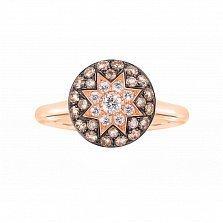 Кольцо из красного золота Счастливая звезда с белыми и коньячными бриллиантами