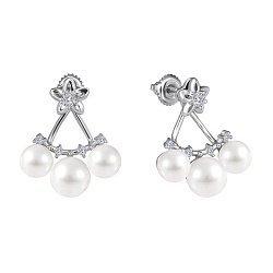 Срібні сережки з перлами і цирконієм Атлантида 000028975