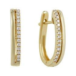 Серьги из желтого золота с бриллиантами 000081236