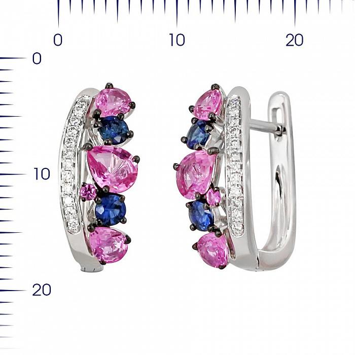 Серьги из белого золота Весна с бриллиантами, розовыми и синими сапфирами 000081250