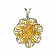 Золотая подвеска с фианитами Нежный цветок