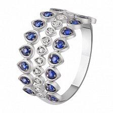 Кольцо из белого золота с сапфирами и бриллиантами Ирида
