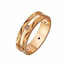 Золотое обручальное кольцо Мой стиль с насечкой и фианитами
