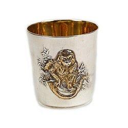 Серебряный стакан Обезьяна с позолотой