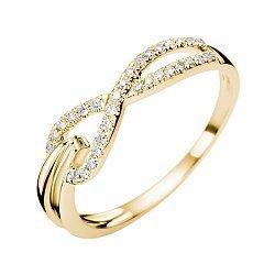 Золотое кольцо в желтом цвете с асимметричной шинкой и бриллиантами, 0,13ct 000070665
