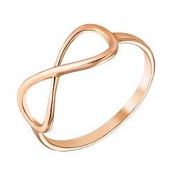 Золотое кольцо Ювелирная бесконечность с фигурной шинкой в красном цвете металла