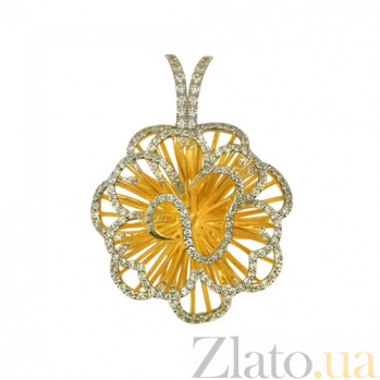Золотая подвеска с фианитами Нежный цветок VLT--ТТ3377-1