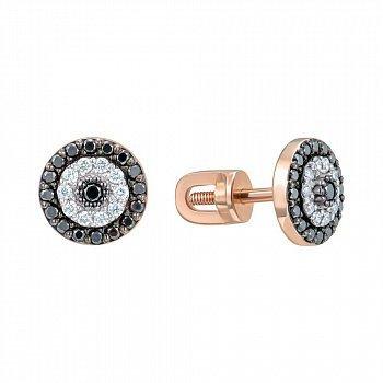 Серьги-пуссеты из красного золота с бриллиантами 000150229