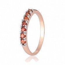 Позолоченное серебряное кольцо с красным цирконием Хельга