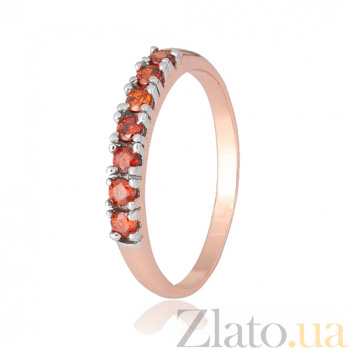 Позолоченное серебряное кольцо с красным цирконием Хельга  000028419