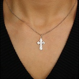Серебряный декоративный крестик Возвышенность с насечкой