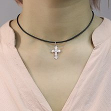 Серебряный родированный крестик Моление на фигурной основе с узорной насечкой