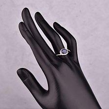 Серебряное кольцо Жозефа с сапфиром и фианитами